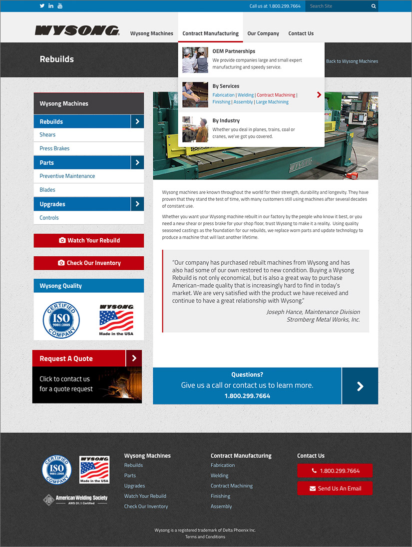 Wysong Manufacturing Website | Red Letter Marketing